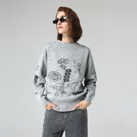 初语冬季新款金银线时尚洋气宽松套头圆领毛衣女针织衫上衣