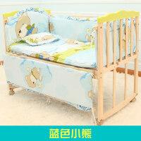 婴儿床实木多功能宝宝床新生儿摇篮床bb床摇篮儿童床带蚊帐a405 +五件套蓝色小熊