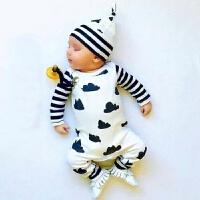 ins婴儿纯棉连体衣女童3-6个月春秋季外出宝宝秋装睡衣0-2岁男童