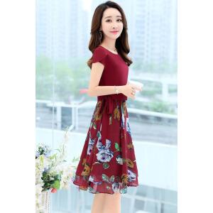 夏季时尚少妇女装夏装连衣裙修身衣服假两件套装25至30到40岁35穿