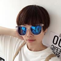 韩国复古反光情侣眼镜圆男女太阳镜潮眼镜大框墨镜沙滩夏太阳眼镜