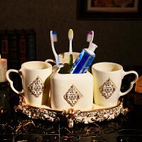欧式卫浴五件套三口之家陶瓷洗漱用品情侣漱口杯刷牙杯套装