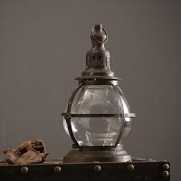 复古做旧铁艺风灯酒吧咖啡厅软装陈列道具家居装饰品烛台摆件摆设