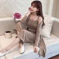 春秋装新款女装吊带连衣裙针织开衫套装女韩版时尚宽松长裤三件套
