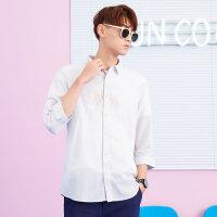 美特斯邦威衬衫男长袖2018夏季新款纯色打底衫百搭商务都市上衣