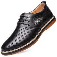 波图蕾斯时尚英伦商务休闲镂空皮凉鞋男士透气低帮平底板鞋系带洞洞鞋男