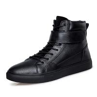 冬季加绒保暖男士棉鞋子韩版真皮高帮板鞋男潮流中邦休闲皮鞋