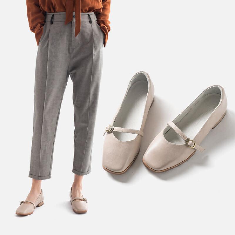 玛丽珍鞋子新款一字扣小皮鞋女鞋浅口单鞋真皮复古韩版奶奶鞋鞋型偏瘦,选大一码,头层牛皮