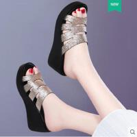 坡跟高跟拖鞋女夏季外穿2018新款厚底时尚外穿百搭韩版网红凉拖鞋