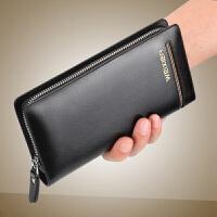 小钱包男钱包钱夹皮夹钱包男长款驾驶证钱包一体 时尚复古手包大容量多功能长款双层拉链男钱包放6寸手机包
