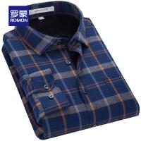 【2折到手价:119】Romon/加绒长袖衬衫男中青年秋冬季新款保暖衬衣休闲格子衬衫