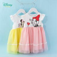 【3件3折到手价:70.8】迪士尼Disney童装 女童连衣裙甜美公主网纱裙2020年夏季新品背心裙女孩裙子透气薄款