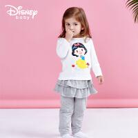 迪士尼 童装女童套装新款春秋T恤裤裙两件套宝宝衣服白雪公主外出服181T772