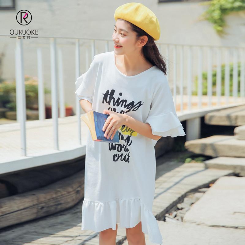欧若珂 2018夏季新款日系甜美印花荷叶边连衣裙女荷叶边连衣裙