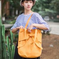 韩版糖果色系复古帆布手提单肩包新款文艺休闲百搭学院蝴蝶结包包