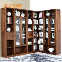 北欧篱笆黑胡桃木书柜全实木书柜自由组合带玻璃门转角书橱展示柜