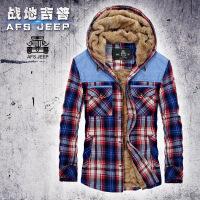 AFS Jeep秋冬男士衬衫加绒加厚大号衬衣吉普连帽保暖英伦格子寸衣