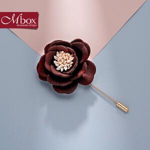 新年礼物Mbox胸针 女日韩国版简约潮人设计胸花布艺 气质时尚百搭领针配饰