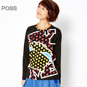 PASS女装春装新款 流波点印花宽松T恤6610111013