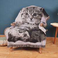 北欧卡通美式猫咪毯子纯棉线毯 沙发飘窗床尾毯 装饰毯毛毯盖毯 130cm*160cm