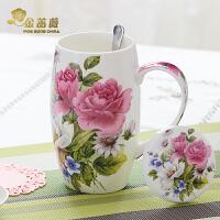 天天特价骨瓷大号水杯陶瓷大容量马克杯带盖勺杯子创意家用腰鼓杯