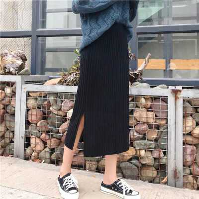 秋季黑色针织包臀半身裙女开叉裙子外穿高腰百搭中长款A字裙显瘦