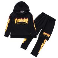 舞蹈服嘻哈演出服hiphop爵士舞练功街舞万圣节表演服装欧美少儿童 黑色火焰