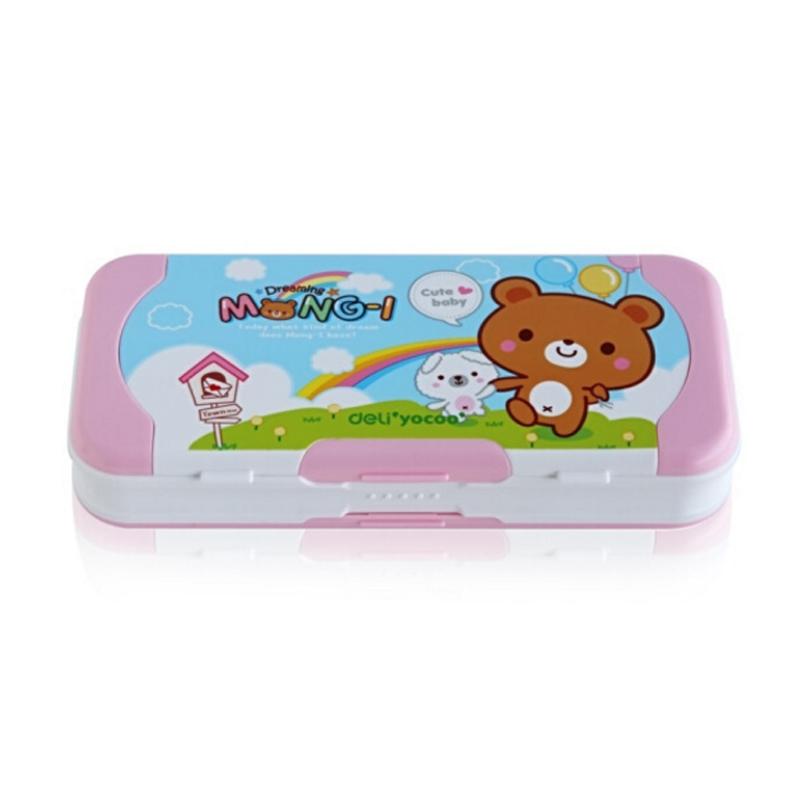 得力(deli) 95585 可爱卡通小学生文具盒 儿童三层塑料铅笔盒 粉色