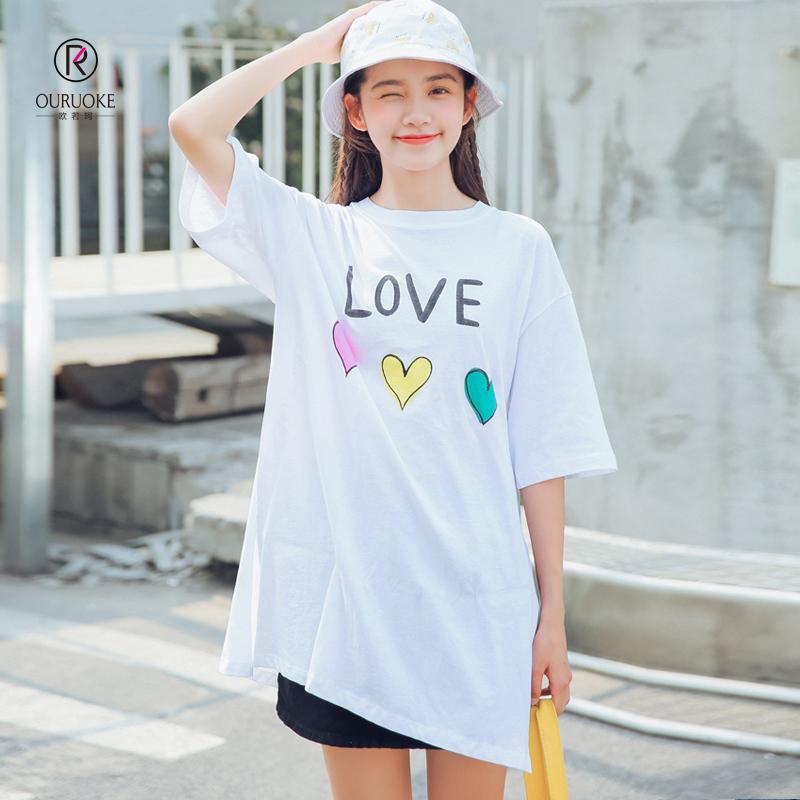 欧若珂  2018夏季新款字母印花彩色爱心宽松学院风短袖T恤女