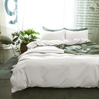 ???纯色床上用品纯棉磨毛床单被套三件套1.8米床笠全棉网红四件套 白色 -单色 1.5m床(被套配180*220)