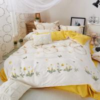 夏季简约风四件套夏天1.8m床双人床单被套床上用品1.2m单人床