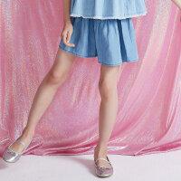 【1件2.5折到手价:28.8】moomoo童装女童短裤新款夏季宽松裙裤纯色休闲中大儿童裤子