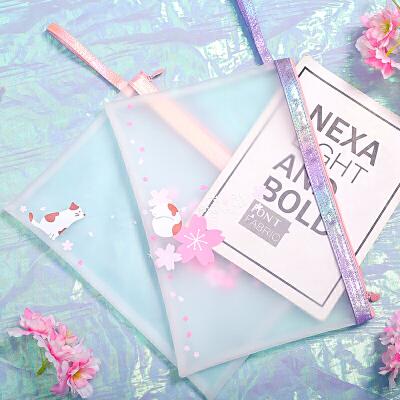 A4文件袋透明拉链学生用大容量手提女简约防水樱花可爱韩国