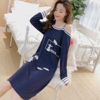 春秋季睡衣少女韩版中长款夏卡通学生可爱宽松套胖长袖睡裙