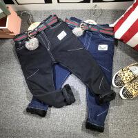 冬季新款男童加绒牛仔裤儿童裤子长裤童装休闲裤童配皮带A6-B8