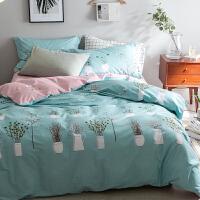 床上四件套纯棉220×240田园床单2.2x2.4米200x230被套1.8m床