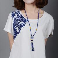 景泰蓝长项链女毛衣链串珠流苏饰品民族风项链送女友生日礼物
