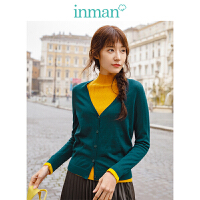 茵曼秋装新款V领修身100%羊毛开衫女式毛衣针织衫外搭小外套【1883131445】
