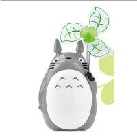 创意卡通龙猫带小夜灯usb充电学生小风扇办公桌宿舍台式静音电扇