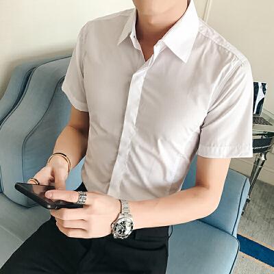 夏季修身衬衣男士韩版时尚衣服寸衫纯色短袖衬衫男装潮