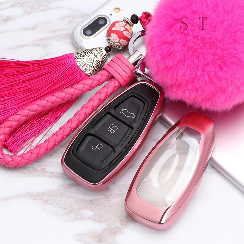 福特17款新翼虎汽车钥匙包新福克斯嘉年华翼博致胜遥控改装钥匙套保护壳扣男女汽车用品