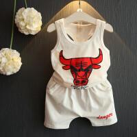 夏季新款韩版男童女童背心短裤立体牛头2件套装时尚潮B-A20