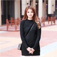韩版秋冬新款麻花针织打底衫女 中长款修身套头毛衣 甜美可穿