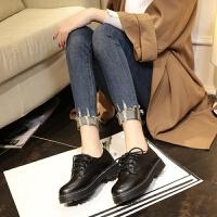 2018冬季新款单鞋女鞋休闲鞋平底学生小皮鞋英伦风复古加绒韩版潮