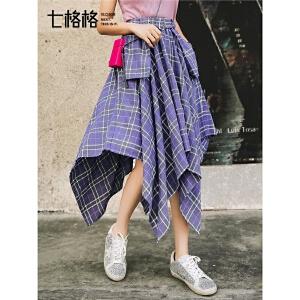 七格格不规则半身裙女春季2019新款高腰百褶裙格子复古中长款裙子