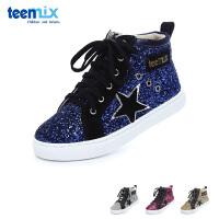 百丽天美意teenmix童鞋17冬季中帮小脏鞋格力特儿童运动休闲鞋天鹅绒女童滑板鞋 (6-12岁可选)