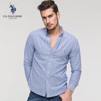 U.S. POLO ASSN.男士条纹衬衣青年商务休闲纯棉长袖衬衫2018春季新款