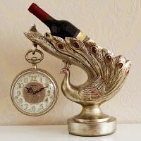 欧式钟表客厅高档奢华座钟摆件时钟孔雀红酒架台式钟客厅创意桌钟 12英寸