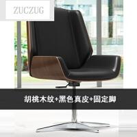 ZUCZUG办公椅电脑椅子 家用 简约现代商务接待售楼处部洽谈椅 铝合金脚 固定扶手