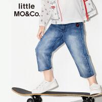 littlemoco刺绣装饰纯棉洗水流苏边纯色牛仔裤KA172PAT404 moco